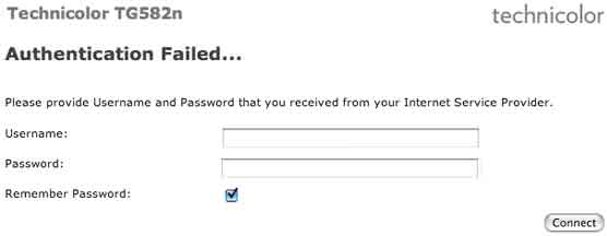 Now you'll need to enter your Broadband Username and password. Click Connect when you've done this.