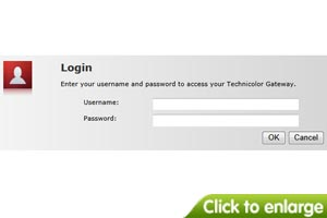 I see a 'Technicolor' login screen.