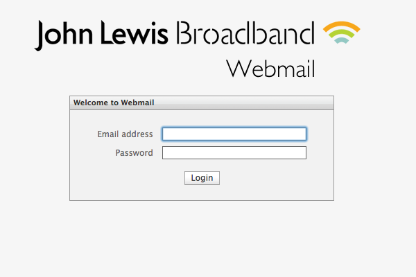 The webmail login page