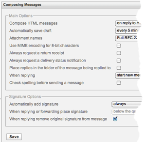 Composing messages options